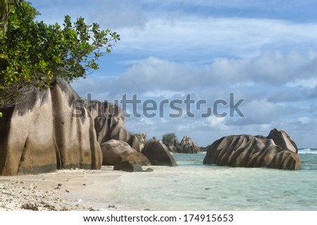 Famous Anse Source d���´Argent beach on the north part of La Digue island, Seychelles, Africa - stock photo