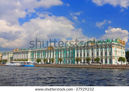 Famous landmark of Sankt Petersburg (Russia) - Winter Palace which houses Hermitage museum - stock photo