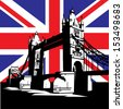 Famous London Bridge on the background of the British flag - stock photo