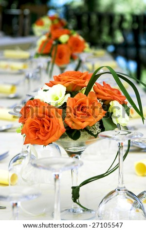 Fancy table set for a wedding celebration - stock photo