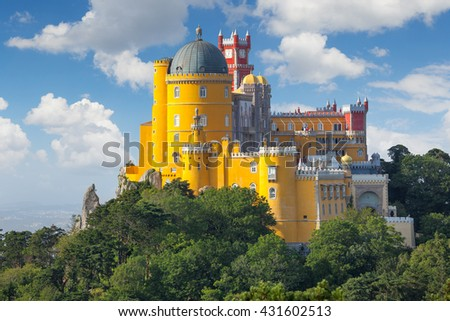 Fantastic National Palace of  Pena  - Sintra, Lisbon, Portugal, Europe - stock photo
