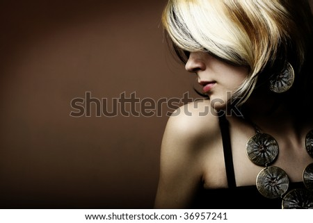 Fashion portrait of young sexy beautiful girl - stock photo