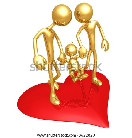 2 Fathers Family Valentine - stock photo