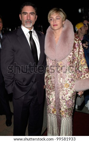 19FEB2000:  Actress SHARON STONE & husband PHIL BRONSTEIN at the Human Rights Campaign Gala, in Los Angeles, where she was honored with the Humanitarian Award.  Paul Smith / Featureflash - stock photo