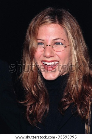 "18FEB98:  ""Friends"" star JENNIFER ANISTON at the premiere of ""Kissing A Fool"" which stars her ""Friends"" co-star David Schwimmer. - stock photo"