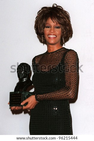 27FEB98: Singer WHITNEY HOUSTON at the Soul Train Awards where she was presented with the 1998 Quincy Jones Award for Career Achievement. Picture: Paul Smith / Featureflash - stock photo