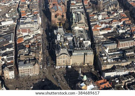 17 February 2016, Amsterdam. Close up aerial view of department store BIJENKORF at the dam square. It's an historical building inside the GRACHTENGORDEL, which is on the UNESCO world heritage list. - stock photo