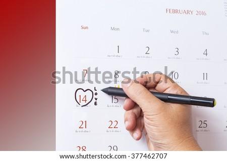 14 february calendar . Valentines day concept - stock photo