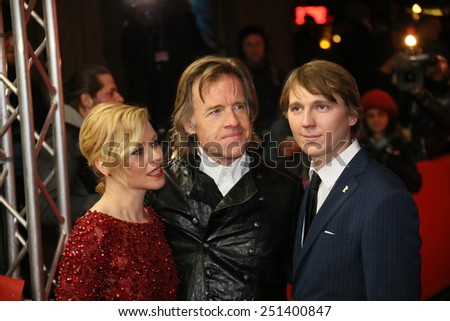 FEBRUARY 08: Elizabeth Banks, Paul Dano, Bill Pohlad attends the 'Love & Mercy' premiere during the 65th Berlinale  Film Festival at Friedrichstadt-Palast on February 8, 2015 in Berlin, Germany.  - stock photo