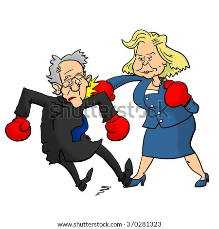 01 February, 2016: Hillary Clinton beating Bernie Sanders - stock photo