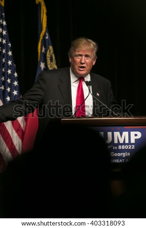 21 February 2016:  Republican Presidential candidate Donald Trump speaks to several thousand supporters at a rally in Atlanta,  Georgia. - stock photo