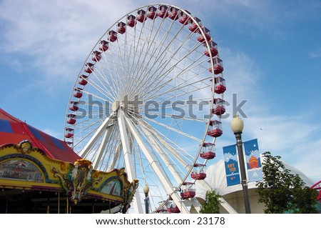 150 feet ferris wheel at the Navy Pier in Chicago - stock photo