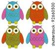 Felt Owl Set - stock photo