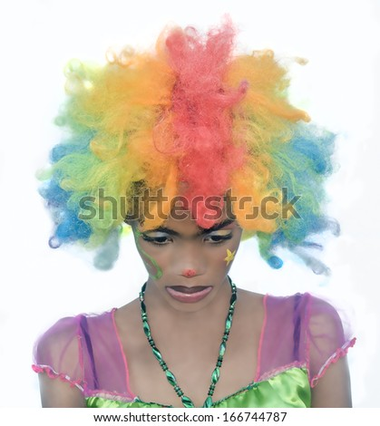Female Clown with Sad Expression - stock photo