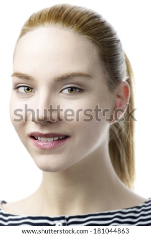 female fashion model with long blond hair against white background  - stock photo