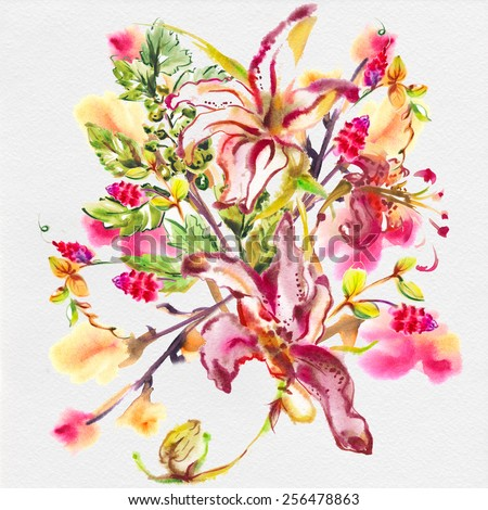 """Festive picturesque bouquet  flowers drawn with water color paints with pink lilies and exotic flowers..Album""""new bouquets by a holiday from water color flowers"""". Album""""Picturesque Lilies"""" - stock photo"""