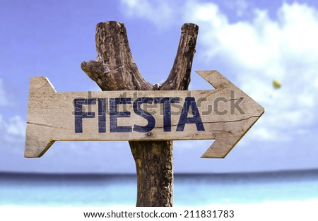 """""""Fiesta"""" (In spanish - Party) sign with a beach on background  - stock photo"""
