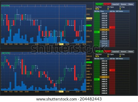 Financial news, forex graphs and quotes on the screen. A professional trader's screen. - stock photo