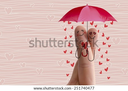 Finger art of day valentines set. Lovers is embracing and holding red heart and umbrella. Stock Image Happy Valentine's Day, mothers day, and 8 March creative love series. Painted fingers in love  - stock photo