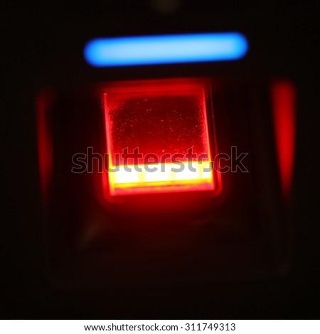 finger scanner for access password, door - stock photo
