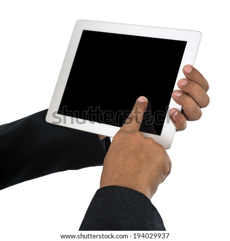 Finger touching touchpad isolated on white with clipping path. - stock photo