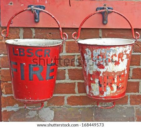 fire buckets - stock photo