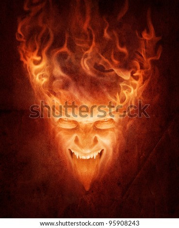 fire face - stock photo