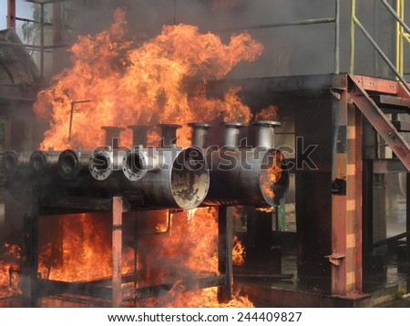 Fire industrial factory                             - stock photo