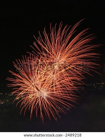 2 Firework Explosions - stock photo