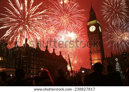 2011, Fireworks over Big Ben at midnight - stock photo