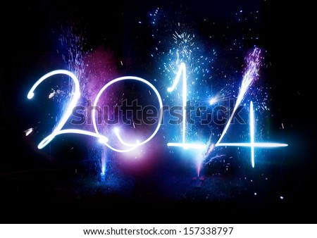 2014 Fireworks party -  New Year Display! - stock photo