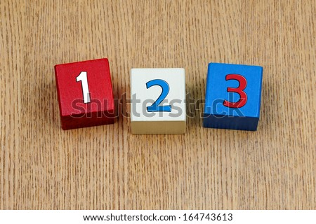 1 2 3 - first numbers for school children and teaching, easy as 123 ! - stock photo