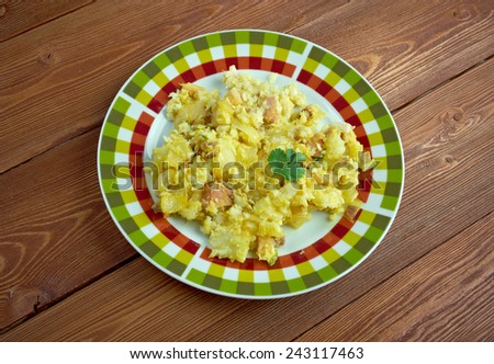Fish and brewis - traditional Newfoundland meal consisting of codfish - stock photo