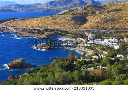 Fisherman town and harbor near Aegean sea shore, Cape Sounio, Greece - stock photo