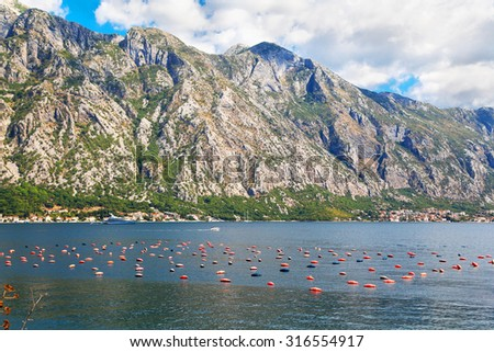 fishing nets in the waters of Adriatic Sea, Montenegro - stock photo