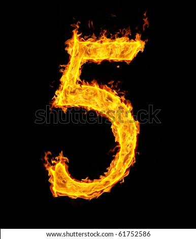 5 (five), fire figure - stock photo