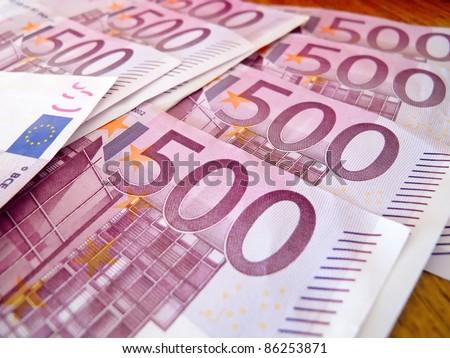 500 five houndreds euro notes - stock photo