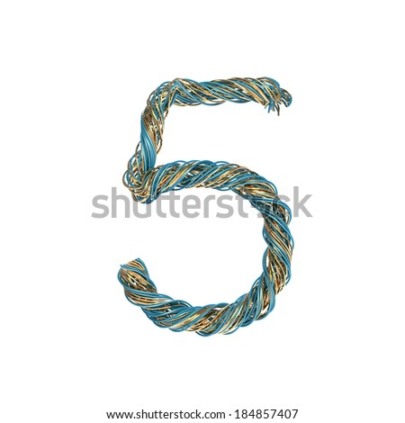 5, five, set of numbers of twisted wire - stock photo