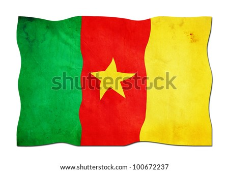 Flag of Cameroon made of  Paper - stock photo