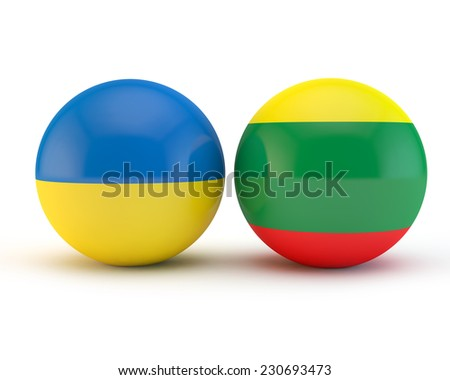 flags of Lithuania and Ukraine applied on spheres - a symbol of cooperation and friendship - stock photo