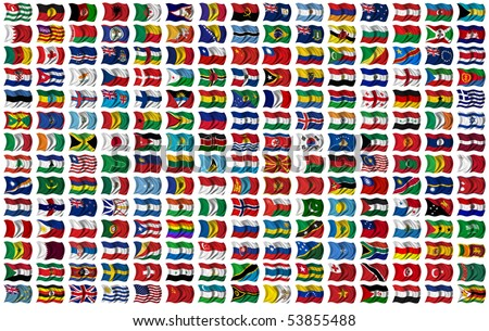 210 Flags of the World - every flag has its own clipping path with country name - stock photo