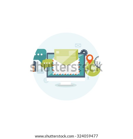 Flat background. Hand with postbox. World map.Envelope. International communication. Business correspondence and private messages. Express delivery. Postal services. Chatting. - stock photo