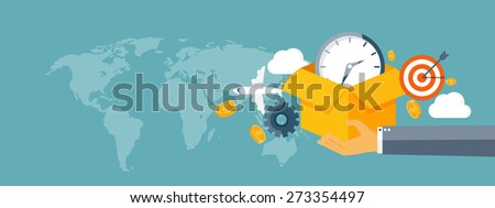 Flat header. International delivery and worldwide postage. Emailing and online shopping. Envelope and package. - stock photo