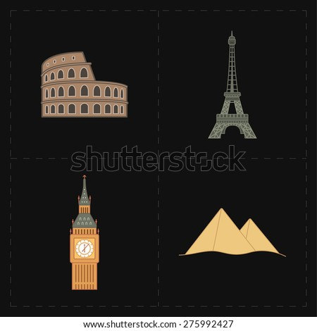 4 flat landmark icons - stock photo