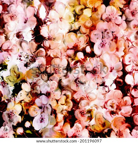 Floral background with stylized colorful cherry flowers  - stock photo