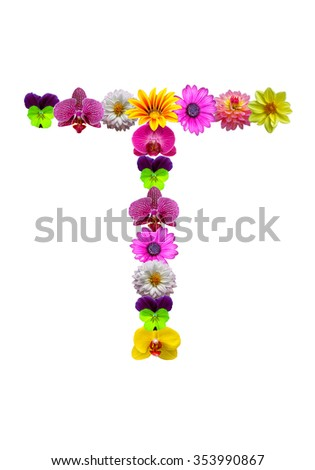 , flower alphabet isolated on white - stock photo