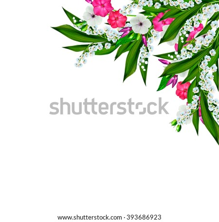 flowers lily of the valley. Flowers of lilies of the valley isolated on white background. - stock photo