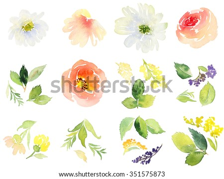 Flowers watercolor. Set for postcards. - stock photo