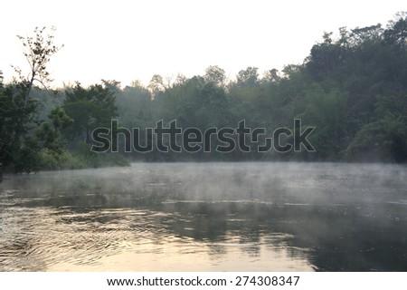 Fog in the morning ,Kwae Noi river ,Kanchanaburi,Thailand             - stock photo