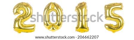2015 foil Balloons on white - stock photo